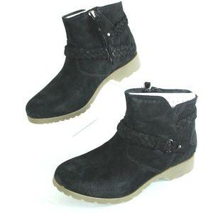 Teva Womens 6 Delavina Ankle Bootie Black Suede Le